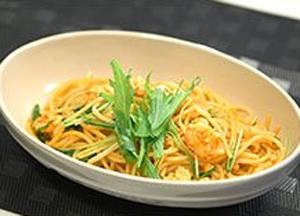 時短!簡単!今夜使える美食レシピ 関西テレビ 韓国 エビと水菜のコチュジャンパスタ