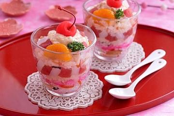 おはよう朝日 レシピ アレンジ ちらし寿司 永谷園 すし太郎 カップ寿司 パフェ風