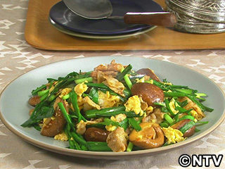キューピー3分クッキング レシピ 作り方 材料 10月24日 豚バラ・椎茸・にらの卵炒め