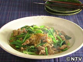 キューピー3分クッキング レシピ 作り方 材料 10月29日 豚肉・小松菜・春雨の炒めもの