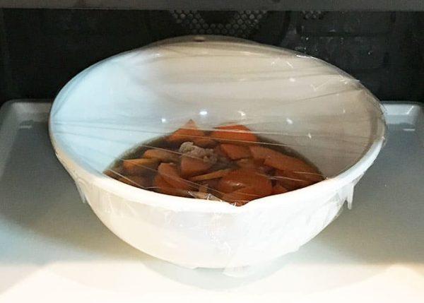 木金レシピ ニンジンとツナの煮ない煮物 耐熱ボール ラップ