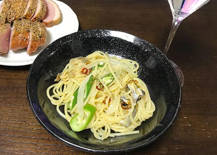オリーブオイル柚子胡椒たタレ 焼き魚 パスタ